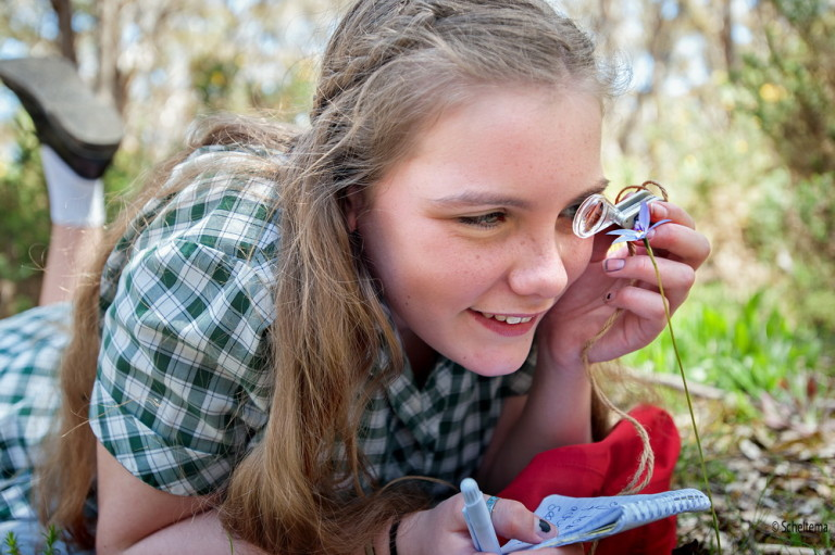 Kyneton Secondary College student Charlotte Arlow is seen here examining a wax lip orchid at Bald Hill Reserve during their recent visit.