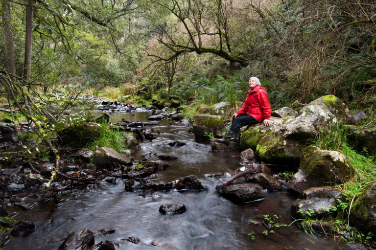 "Trentham Landcare's Gael Elliott is seen here on the Coliban River. ""The rivers are the lifeblood of our environment and we need to nurture them. We need to respect the rivers and landcare can act as a conduit in this process."" Photo: Sandy Scheltema"
