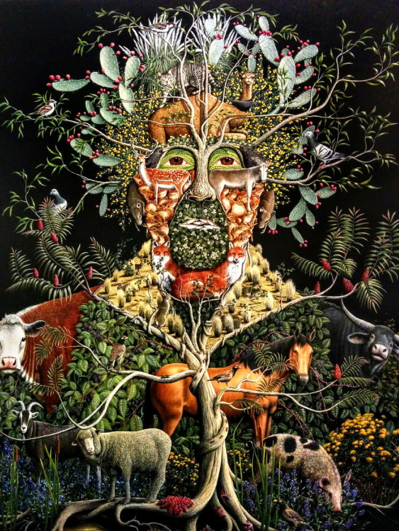 An entry in the recent Archibald Prize competition by artist Michael Mc Williams called The Usurpers.It is of introduced species that have had the most impact onthe environment,including Man.