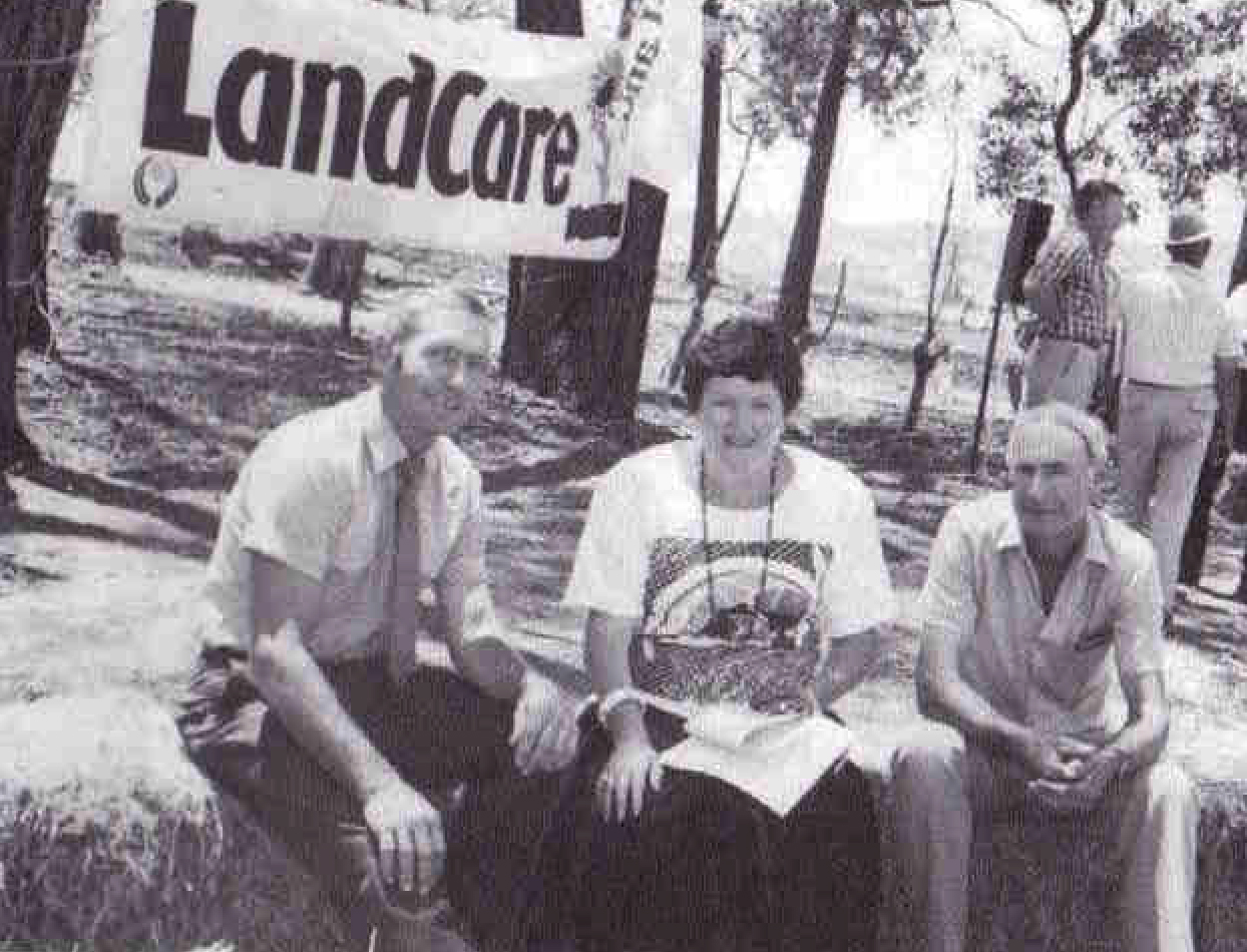 Joan Kirner at the Launch of Landcare 25th November 1986 with Alan Malcolm,Joan Kirner,Minister For COnservation,and Andrew Cameron from the Victorian Farmers Federation.