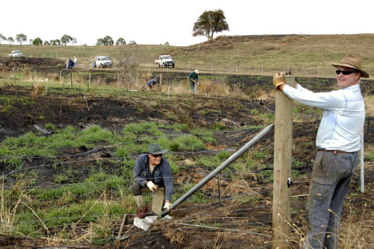 Some of the 30 people that attendeda working bee to ehlp Langley Landcare repair fences damaged by the January FIres.Pic by ALan Denehey