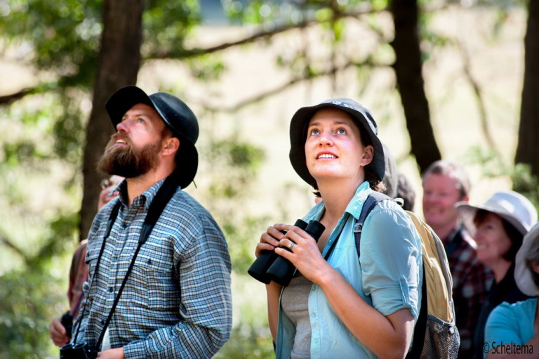 Trentham Landcare members at a recent event to identify birds on a property at the edge of the Wombat Forest. Pic Scheltema