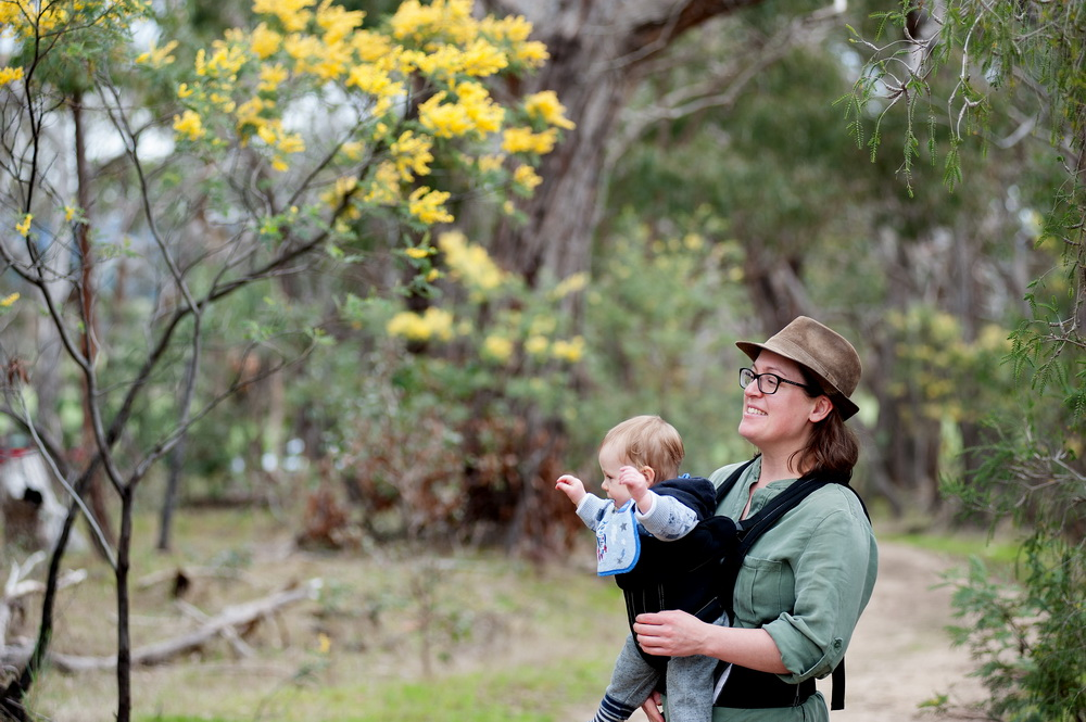 Enjoying the scent of wattle at spring time.  ©Scheltema