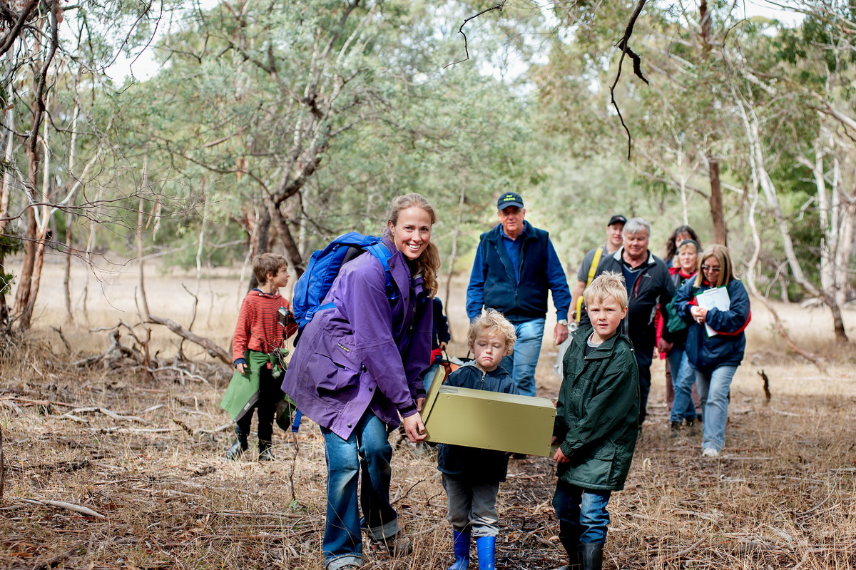 Austin and Oliver May (4 and 6 yrs old) were thrilled to be part of a team of people at Bald Hill Reserve on Saturday installing nest boxes for sugar gliders and phascogales. They are seen here with their mother Amanda May.Members of Friends of Bald Hill and the Environmental Officer of Macedon Ranges Shire Council William Terry installed 7 boxes on the day,which were made by the Woodend Mens Shed.