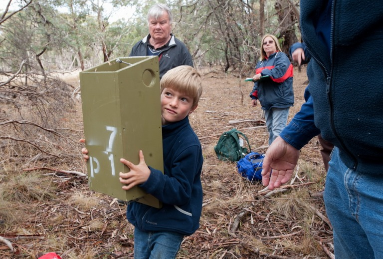 Manu helps out with the installation of Nest Boxes at Bald Hill Reserve.